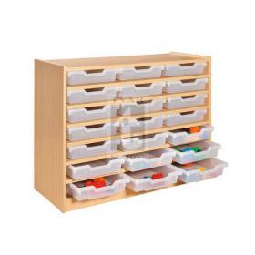 Skříňka se 6 vloženými policemi a 21 plast. zásuvkami