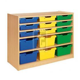 Skříňka se 4 vloženými policemi a 15 plastovými zásuvkami