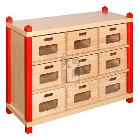 Skříňka se 2 vloženými policemi a 9 volnými zásuvkami varianta 2