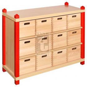 Skříňka se 2 vloženými policemi a 12 volnými zásuvkami varianta 2