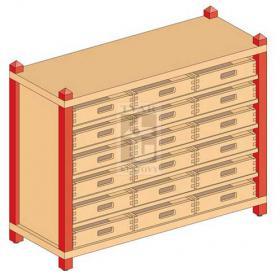 Skříňka se 5 vloženými policemi a 18 volnými zásuvkami