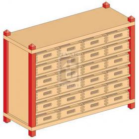 Skříňka se 5 vloženými policemi a 24 volnými zásuvkami
