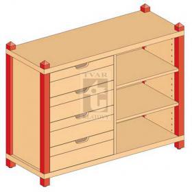 Skříňka kombinovaná zásuvková se 2 vloženými policemi