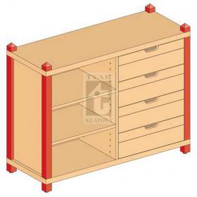 Skříňka kombinovaná zásuvková se 2 vloženými policemi varianta 2