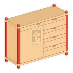 Skříňka kombinovaná jednodveřová se zásuvkami