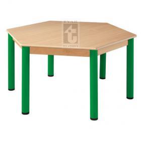 Šestistranný stůl prům. 120 cm, deska UMAKART dekor BUK