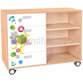 Skříňka kombinovaná se zásuvkami a policemi