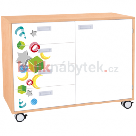 Skříňka kombinovaná se zásuvkami a dveřmi